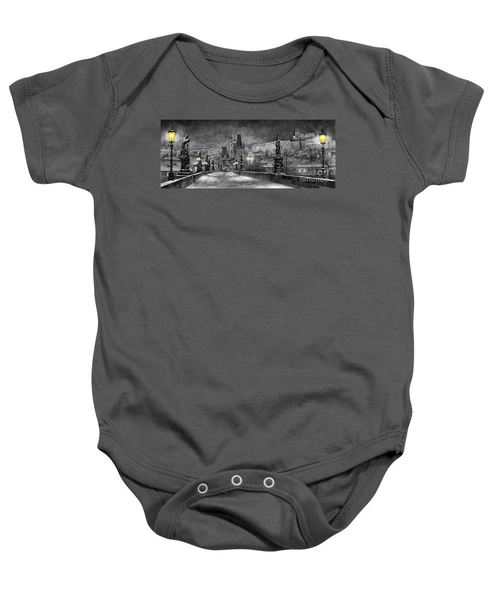 Prague Baby Onesie featuring the painting Bw Prague Charles Bridge 06 by Yuriy Shevchuk