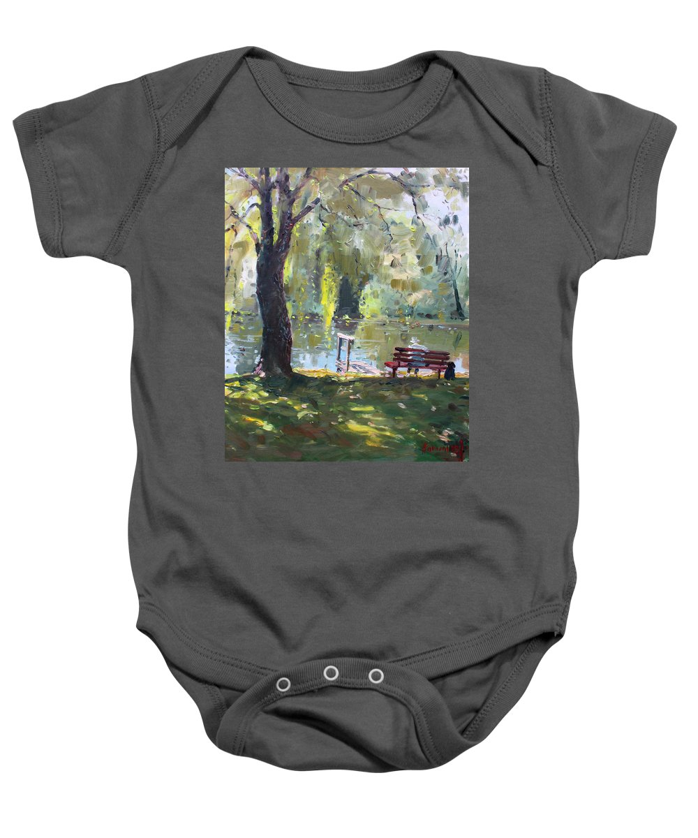 Lake Baby Onesie featuring the painting By The Lake by Ylli Haruni