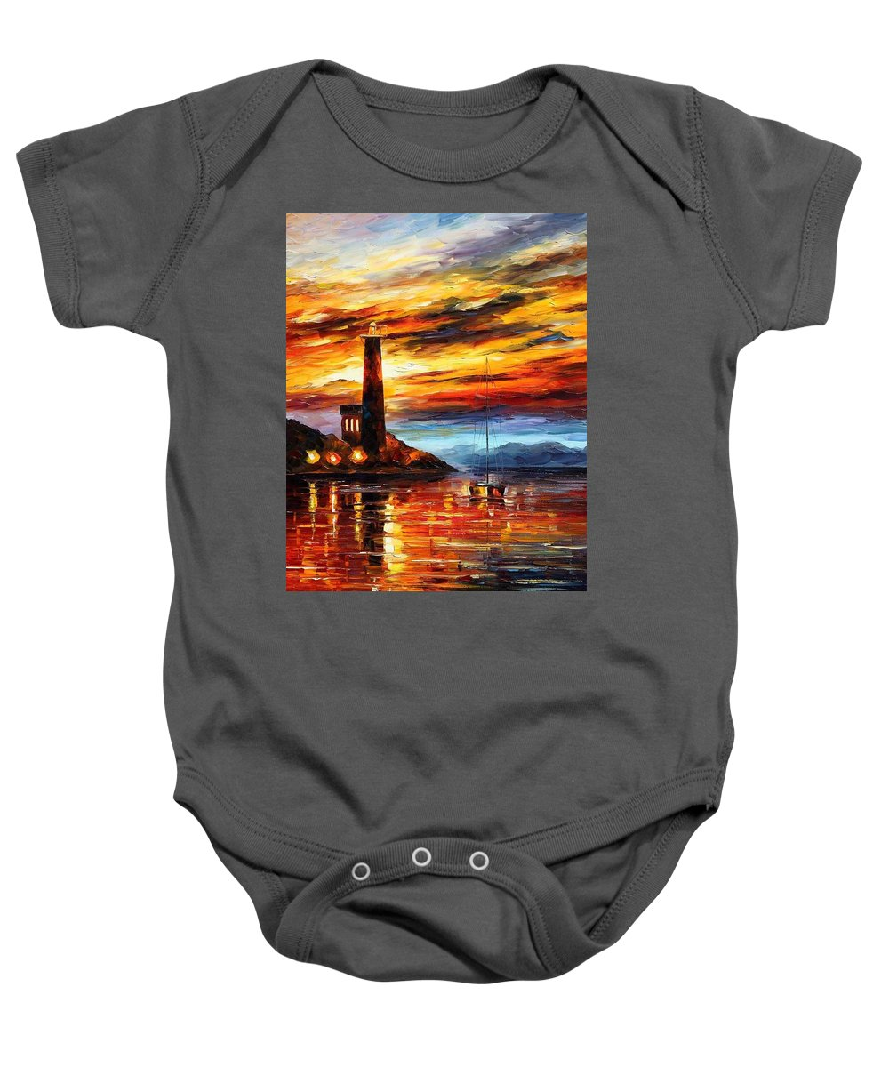 Afremov Baby Onesie featuring the painting By The Lighthouse by Leonid Afremov