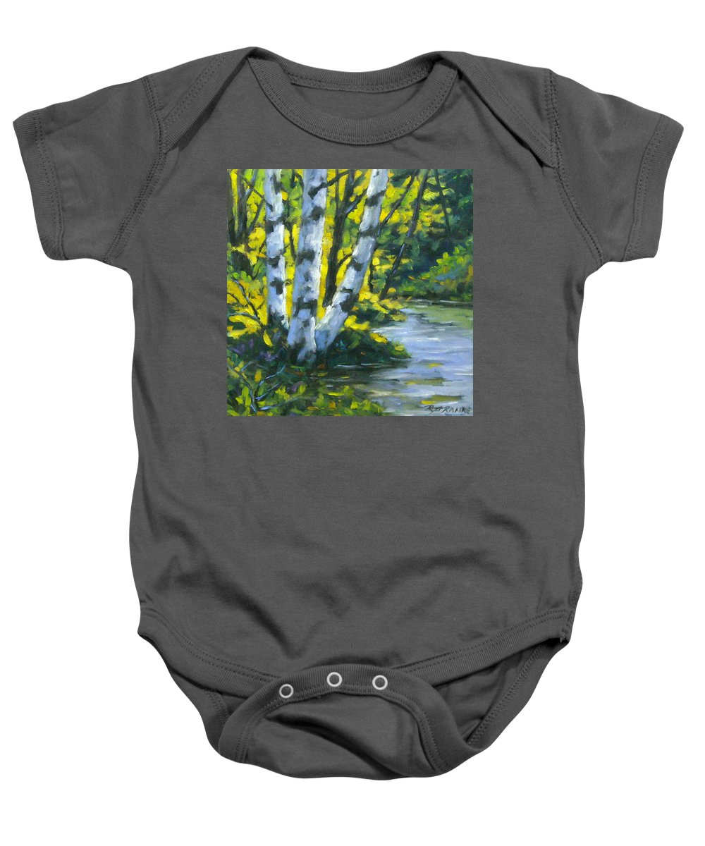 Art Baby Onesie featuring the painting By The River by Richard T Pranke