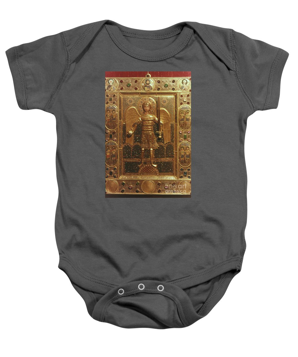 Art Baby Onesie featuring the photograph Byzantine Art: St. Michael by Granger