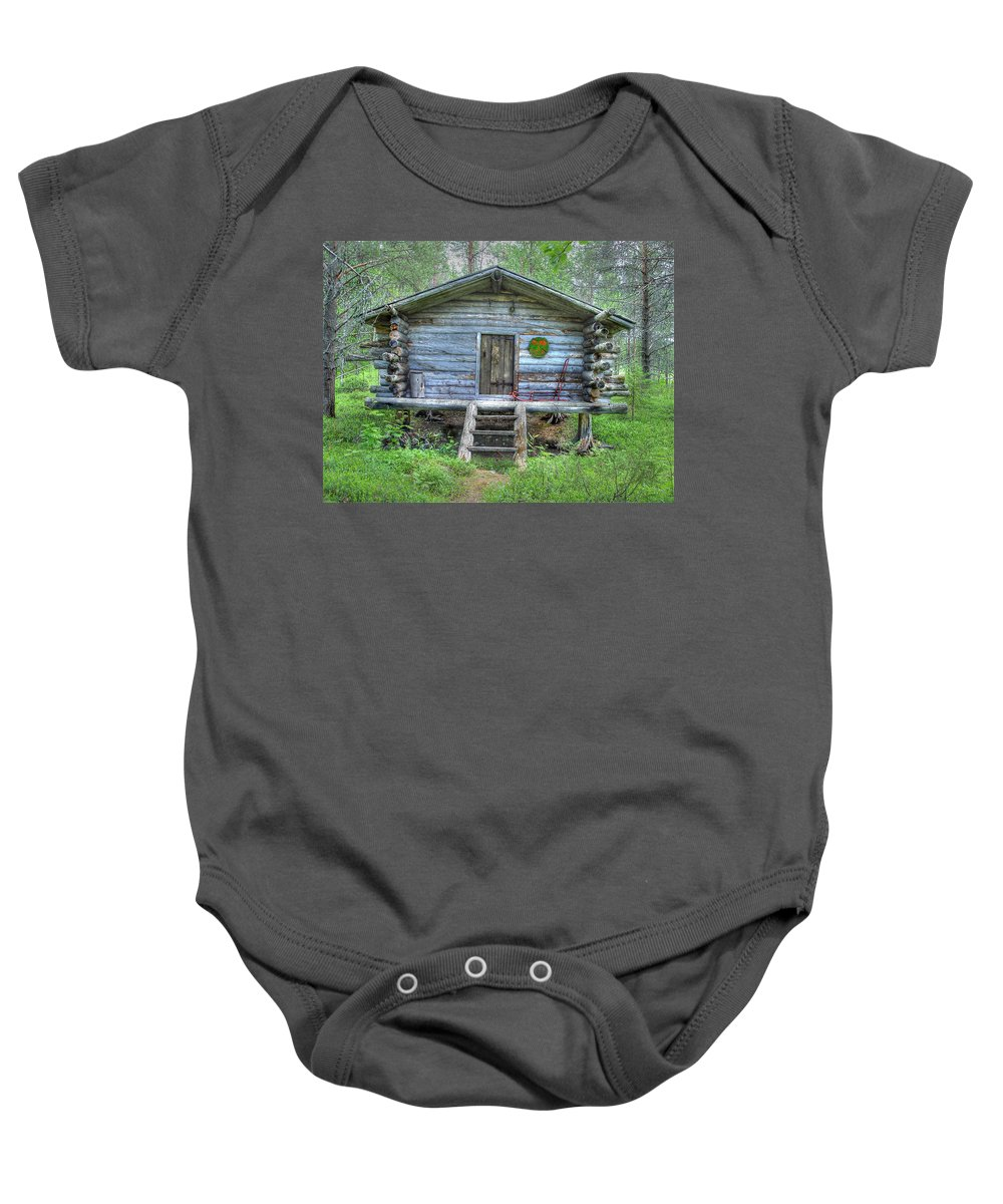 Rustic Baby Onesie featuring the photograph Cabin In Lapland Forest by Merja Waters