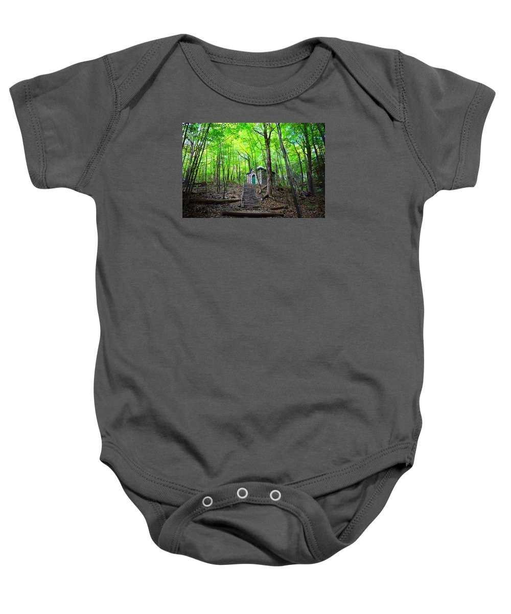 Cabin Baby Onesie featuring the photograph Cabin In The Woods by Lindsay Krahenbring