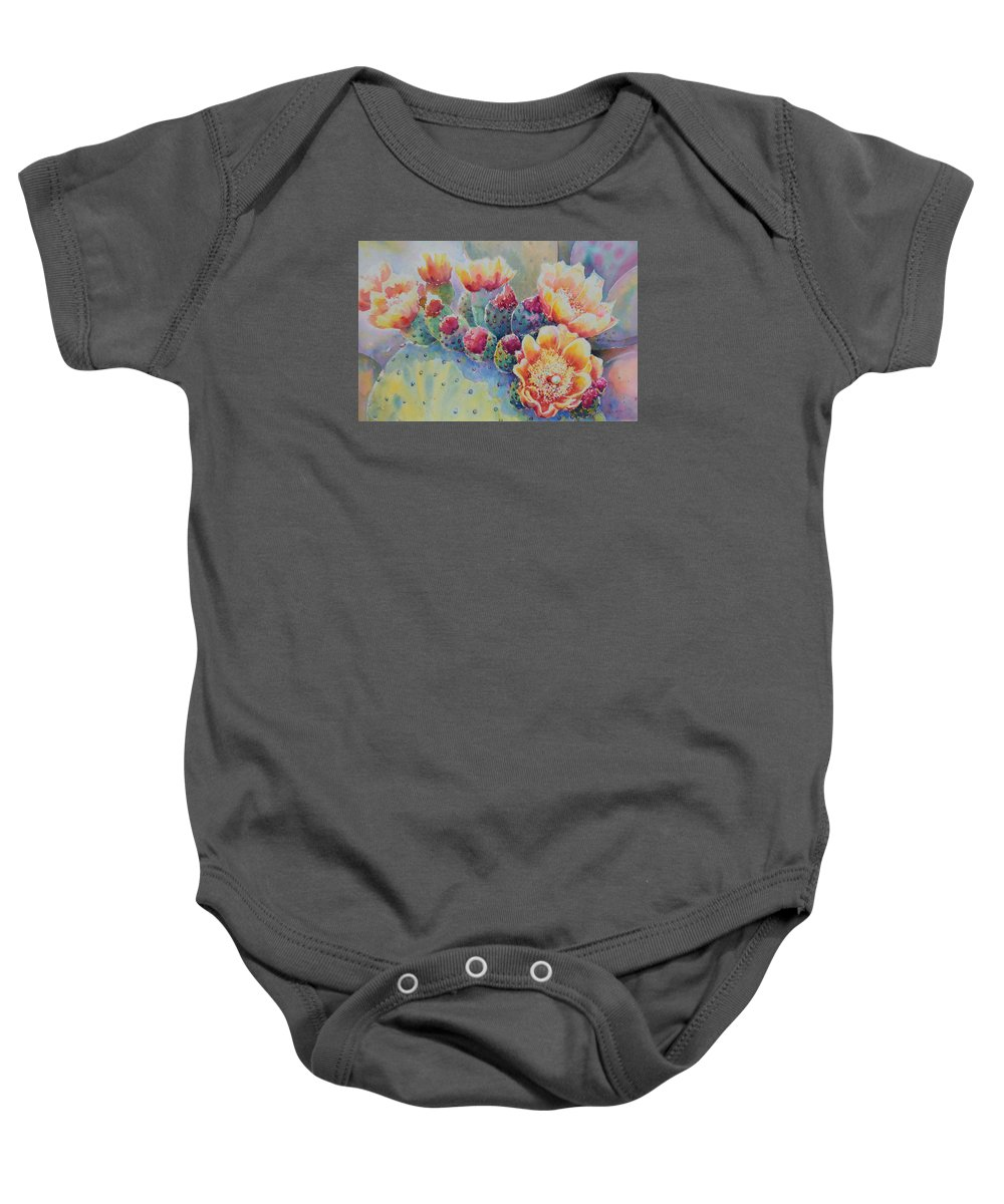 Prickley Pear Baby Onesie featuring the painting Cactus Flowers by Victoria Wills