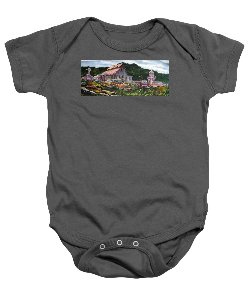 Cadillacs Baby Onesie featuring the painting Cadillac Ranch by Ron Morrison