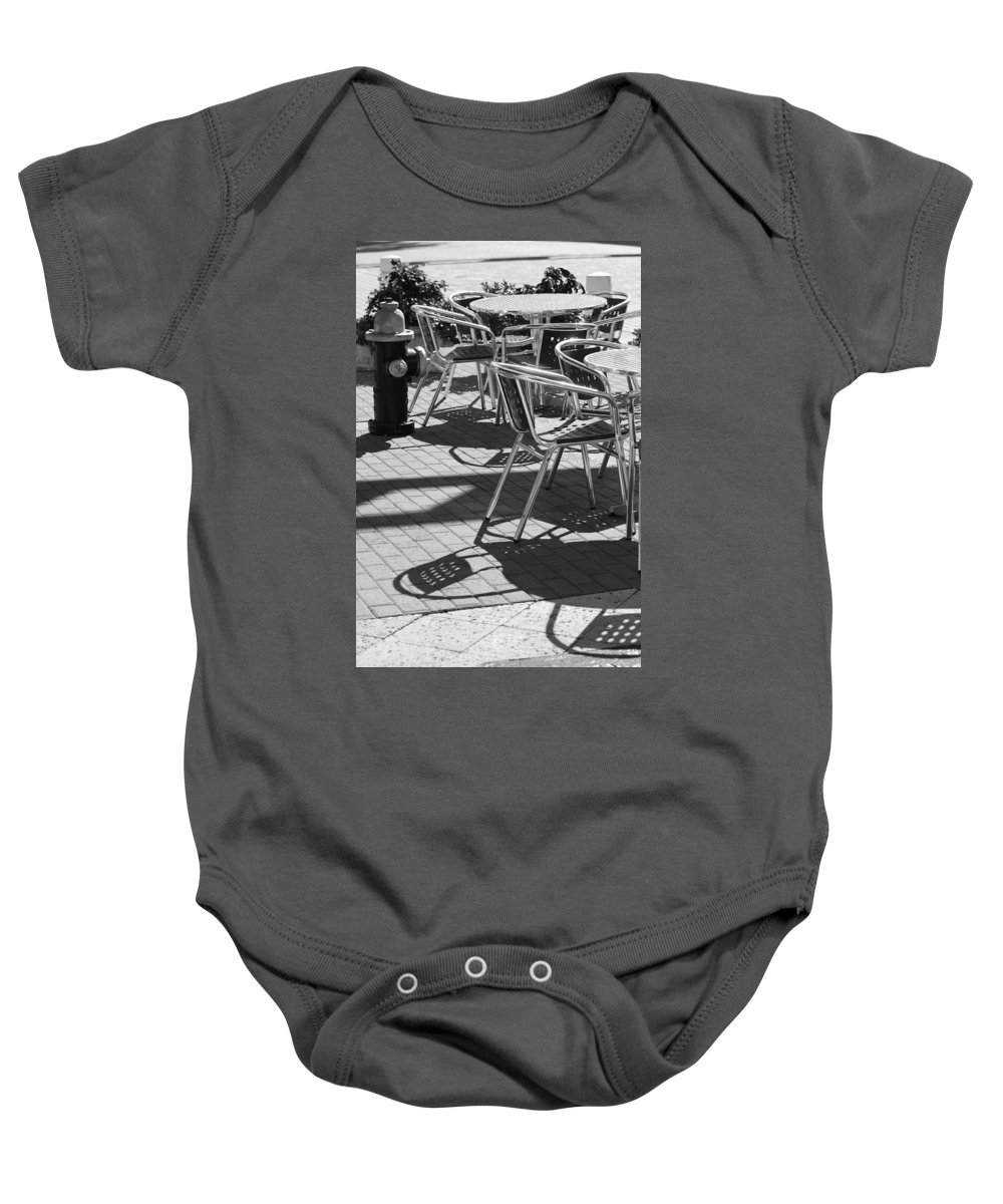 Fire Hydrant Baby Onesie featuring the photograph Cafe Hydrant by Rob Hans
