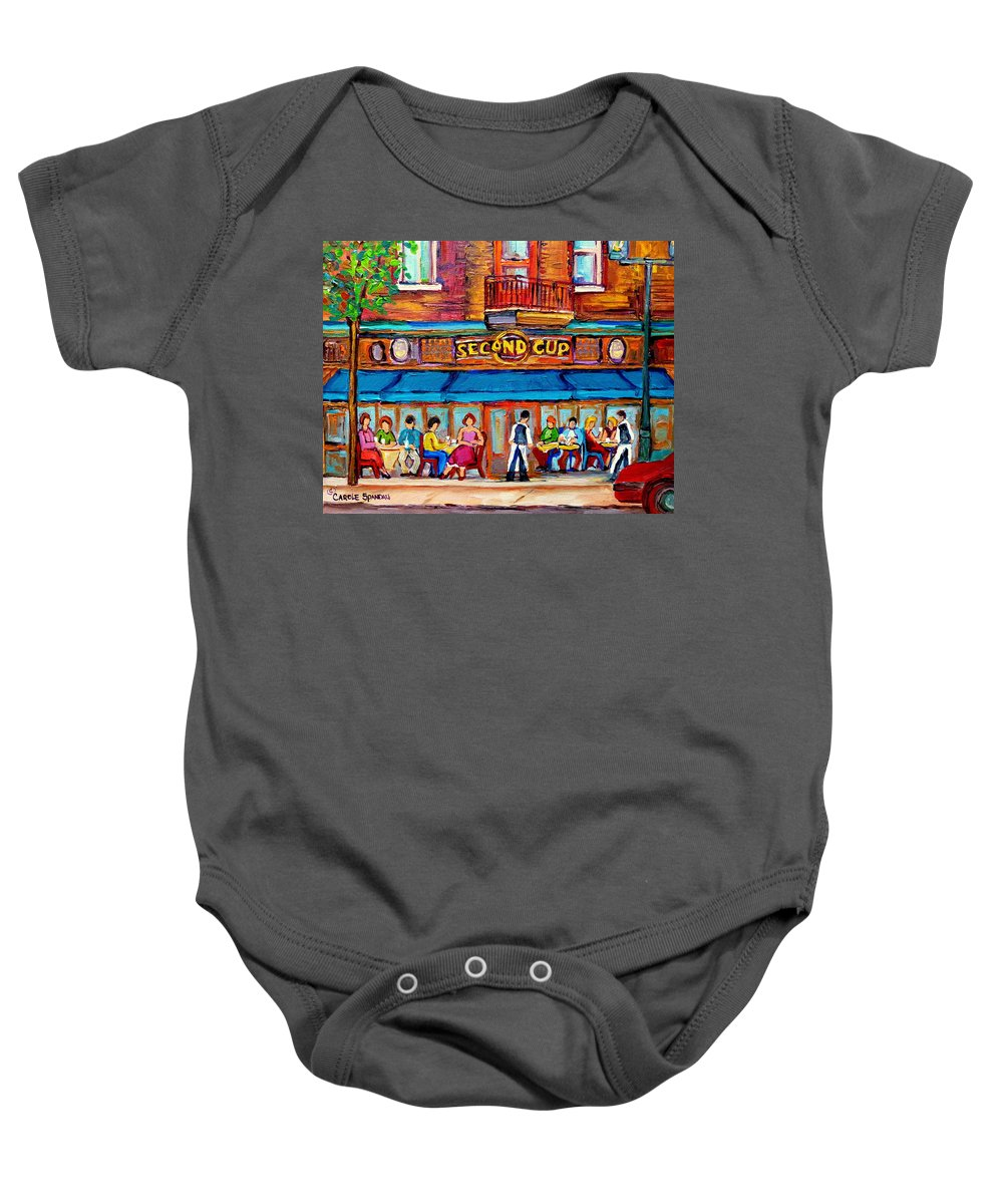 Cafe Second Cup Terrace Montreal Street Scenes Baby Onesie featuring the painting Cafe Second Cup Terrace by Carole Spandau