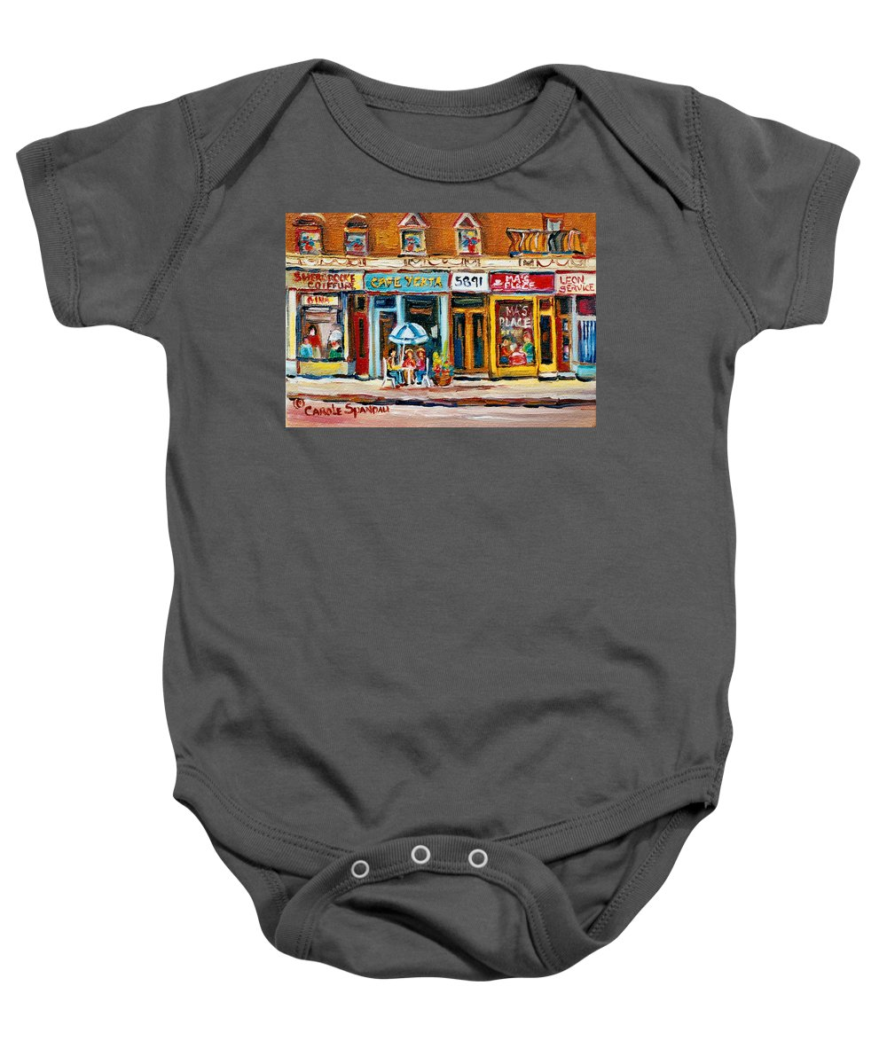 Cafes Baby Onesie featuring the painting Cafe Yenta And Ma's Place by Carole Spandau