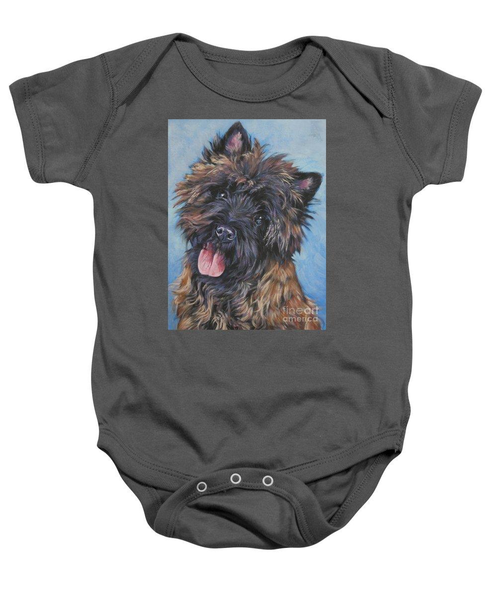 Cairn Terrier Baby Onesie featuring the painting Cairn Terrier Brindle by Lee Ann Shepard