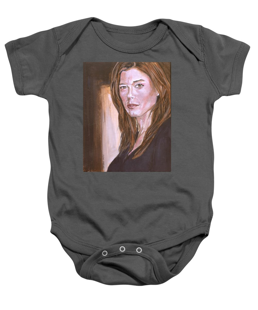 Caitlin Keats Baby Onesie featuring the painting Caitlin Keats by Bryan Bustard