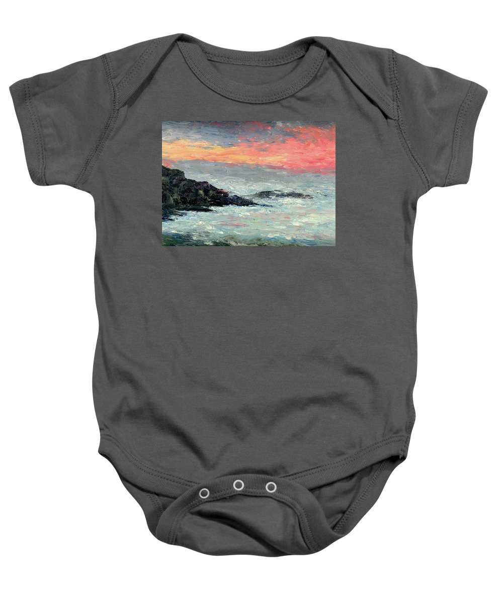 Seascape Baby Onesie featuring the painting California Coast by Gail Kirtz