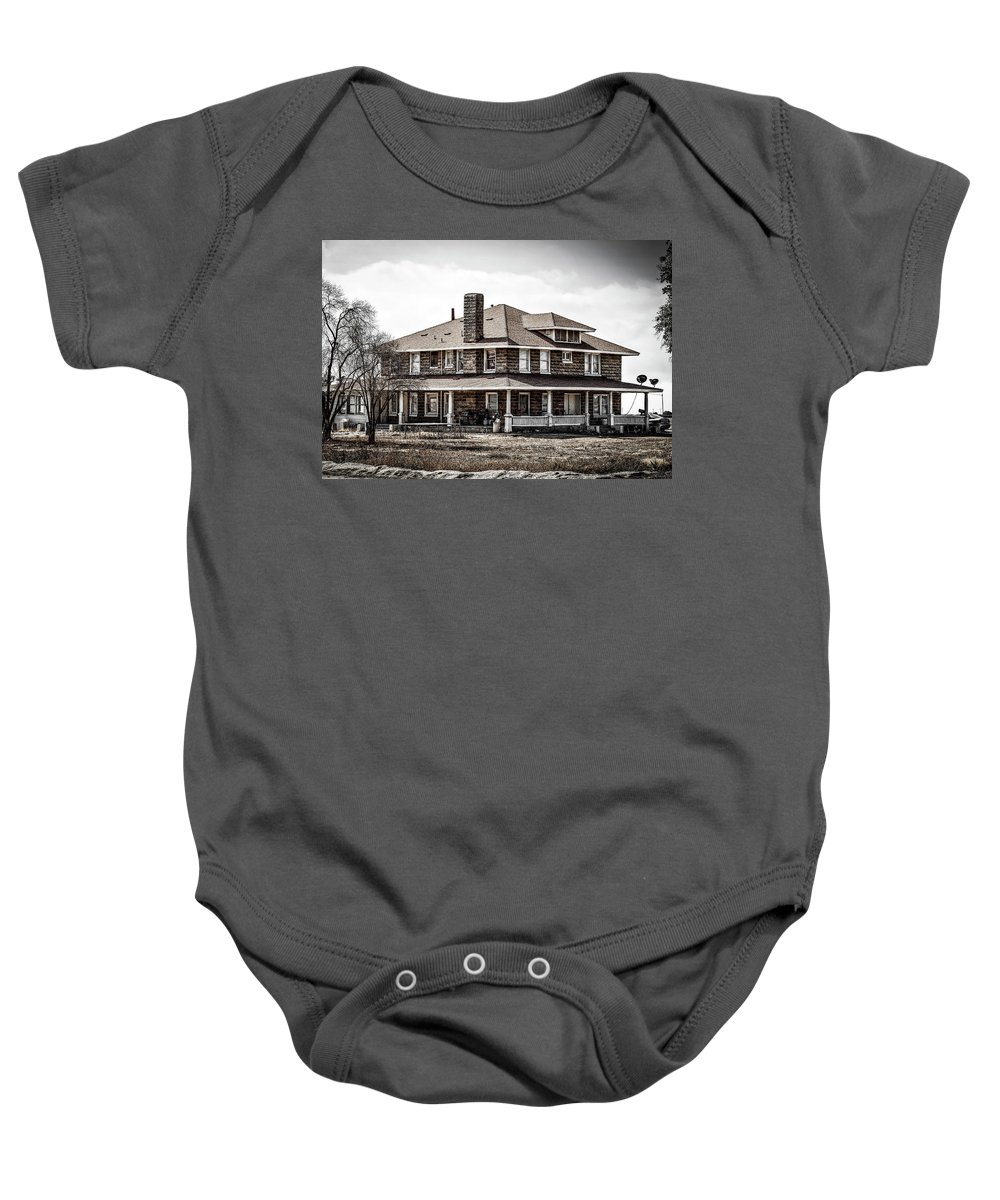 Landscape Baby Onesie featuring the photograph California Farm House by Gene Parks