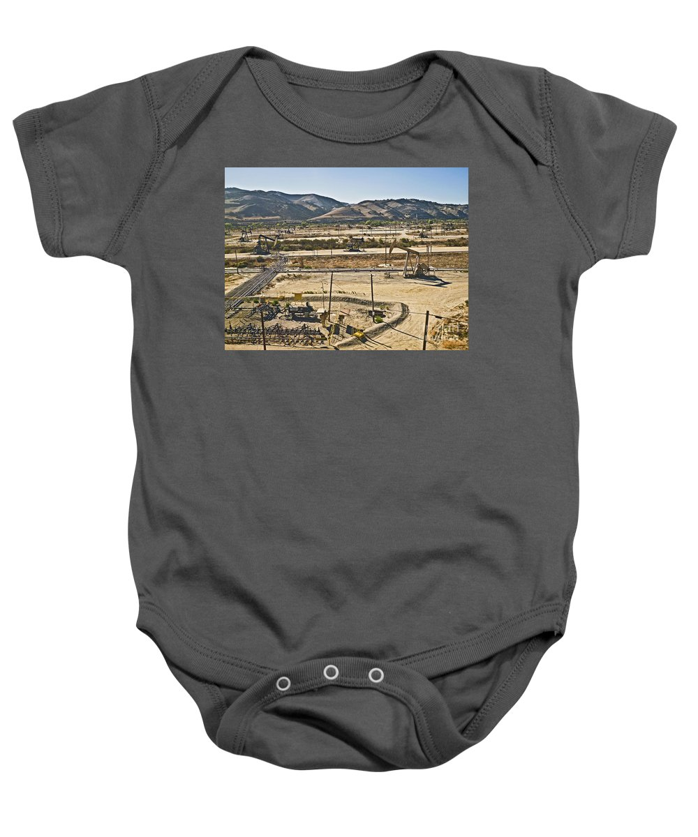California Baby Onesie featuring the photograph California Oil Field 14pdxl084 by Howard Stapleton