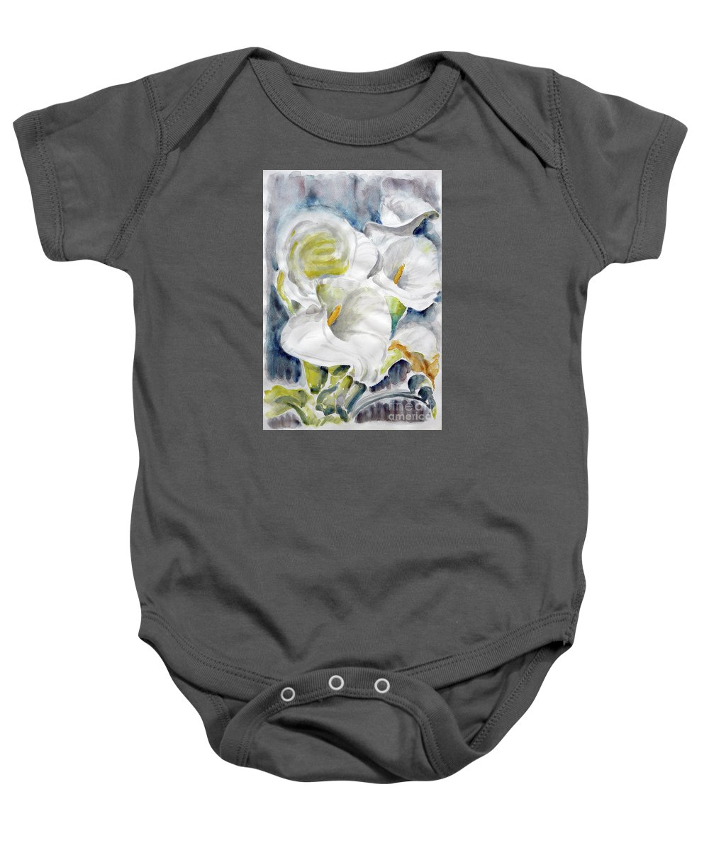 Callas Baby Onesie featuring the painting Calla by Jasna Dragun