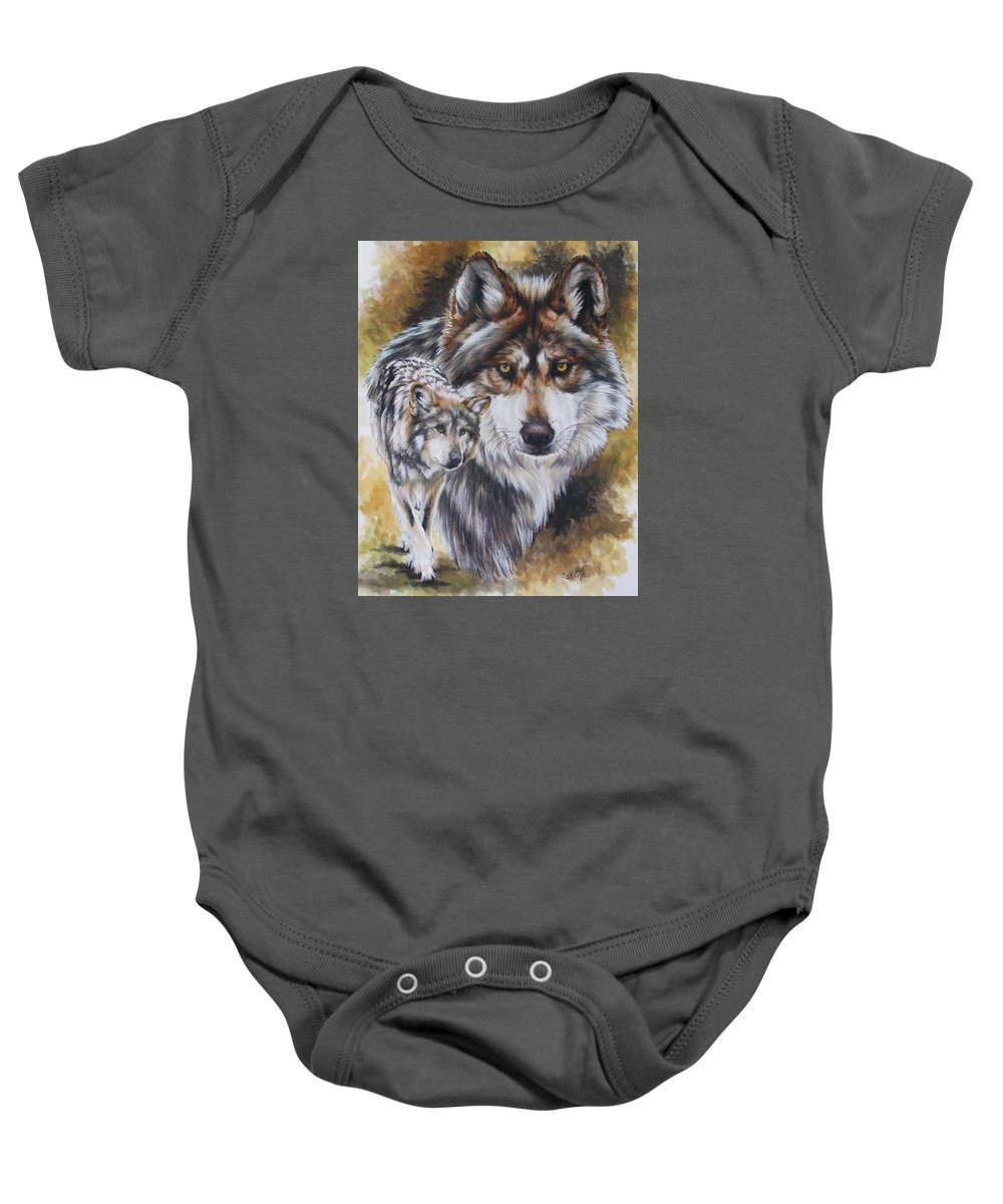 Wildlife Baby Onesie featuring the mixed media Callidity by Barbara Keith