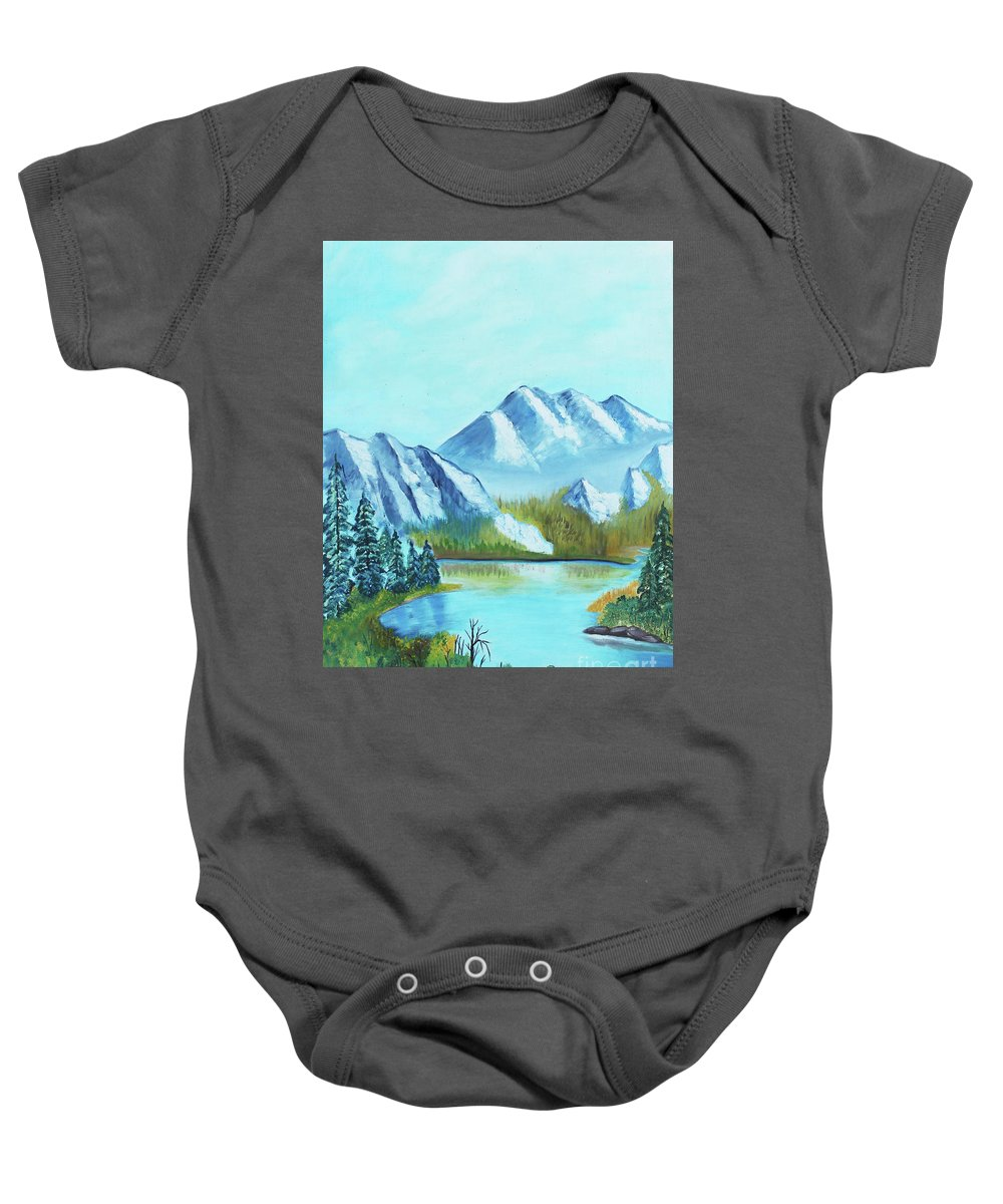 Mountain Lake Baby Onesie featuring the painting Calm Mountain Stream by Betty McGregor