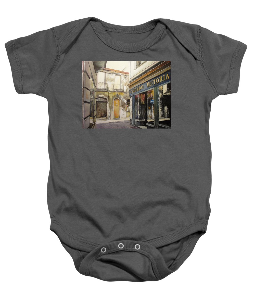 Calzados Baby Onesie featuring the painting Calzados Victoria-leon by Tomas Castano