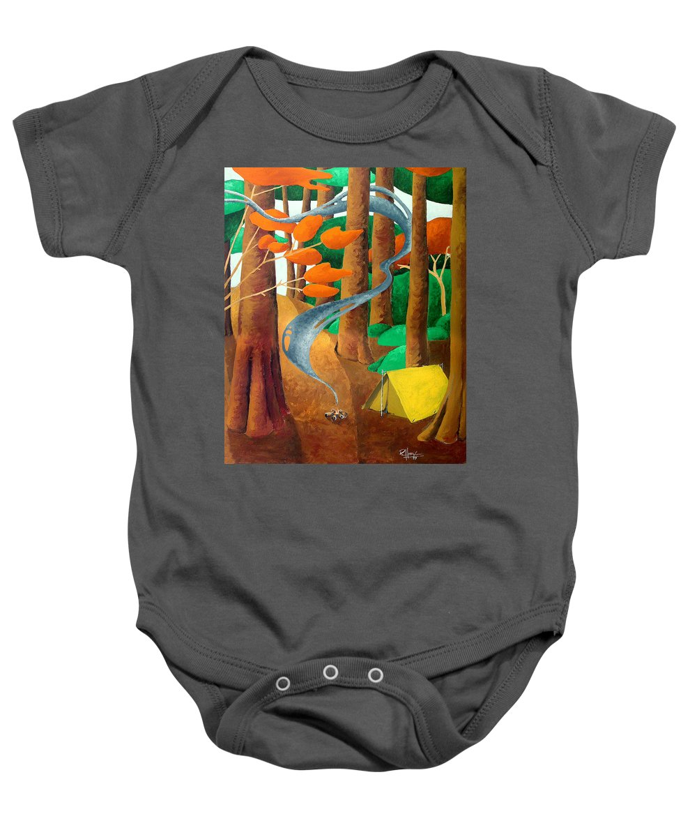 Landscape Baby Onesie featuring the painting Camping - Through The Forest Series by Richard Hoedl