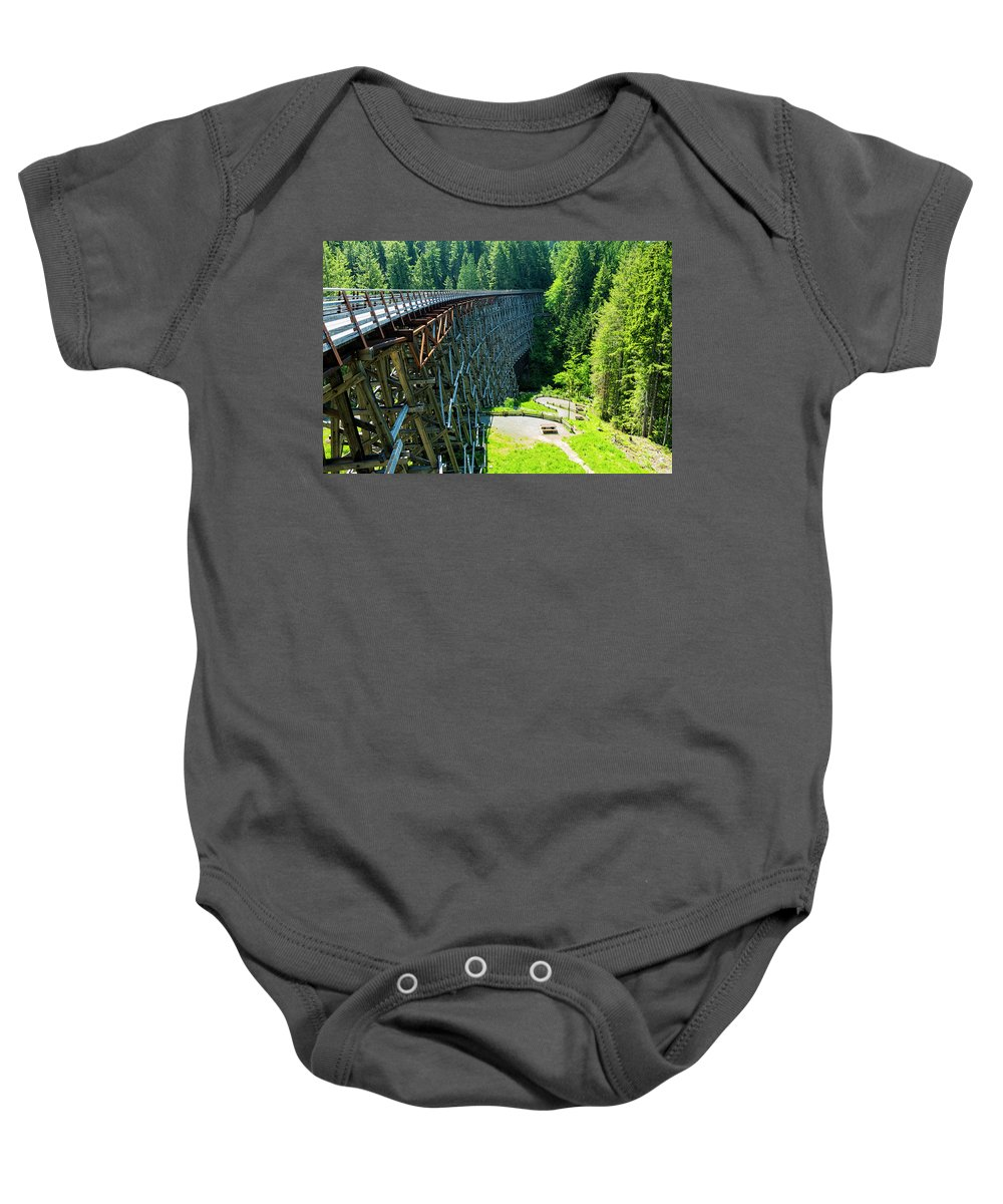 Background Baby Onesie featuring the photograph Canada National Historic Wooden Trestle- Kinsol Trestle Near Shawnigan Lake, Bc Canada. by Andrew Kim