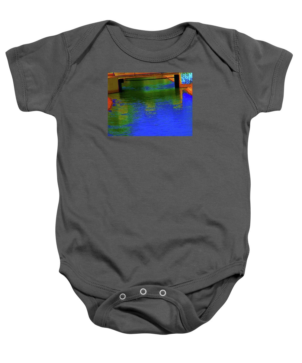 Abstract Baby Onesie featuring the photograph Canal 12 by Lenore Senior