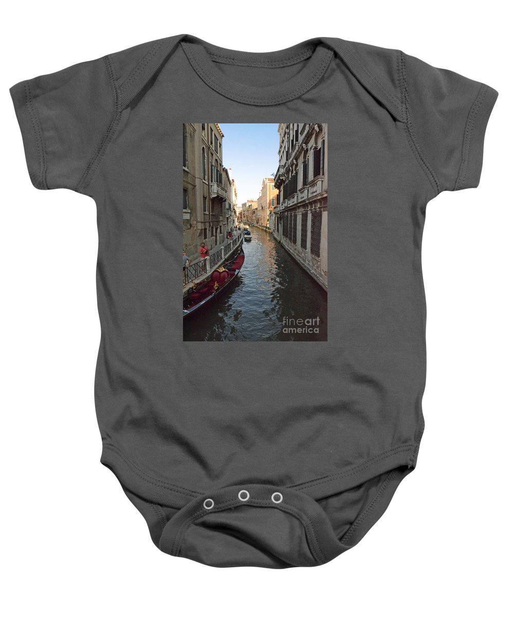 Venice Baby Onesie featuring the photograph Canal And Gondola by Elaine Berger