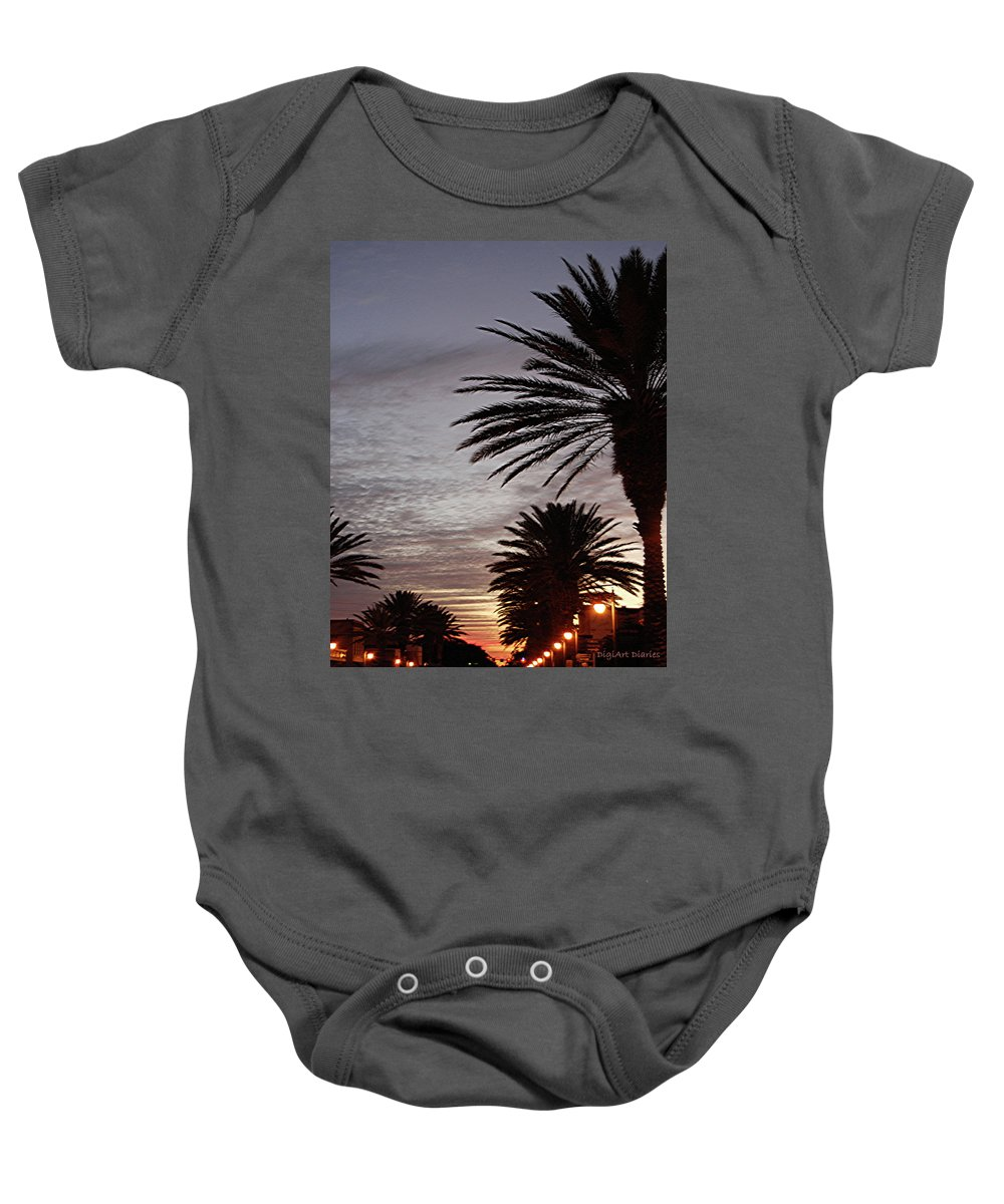 New Smyrna Beach Baby Onesie featuring the photograph Canal Street At Dusk by DigiArt Diaries by Vicky B Fuller