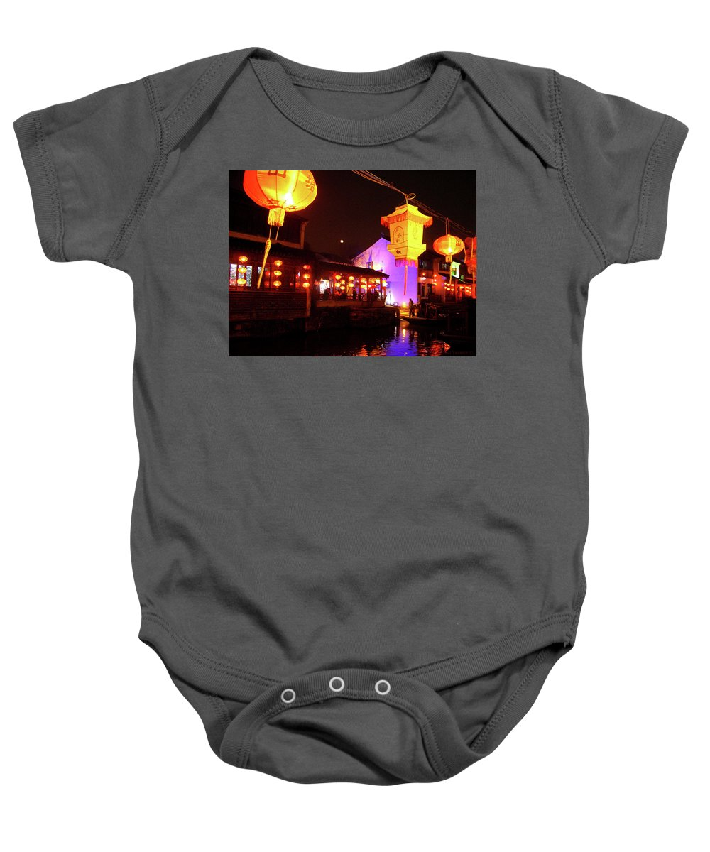Suzhou Boats Baby Onesie featuring the photograph Canal, Suzhou by Joel Yasskin