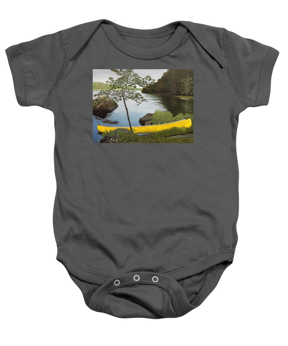 Landscapes Baby Onesie featuring the painting Canoe On The Bay by Kenneth M Kirsch