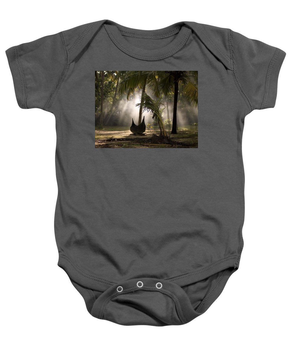Boat Baby Onesie featuring the photograph Canoe Under Palm Trees In Kerala, India by Keith Levit