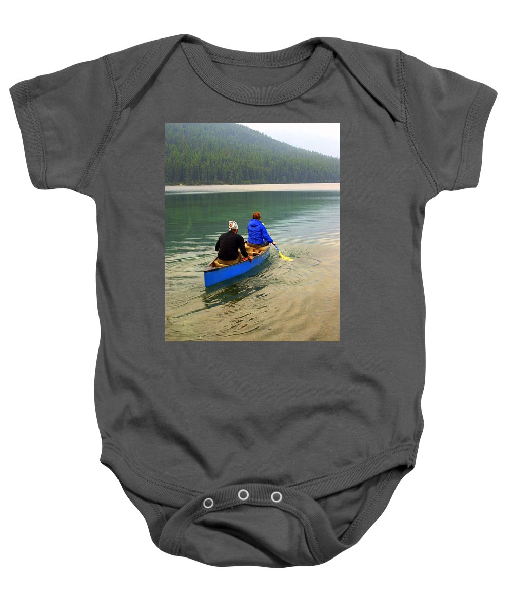 Glacier National Park Baby Onesie featuring the photograph Canoeing Glacier Park by Marty Koch