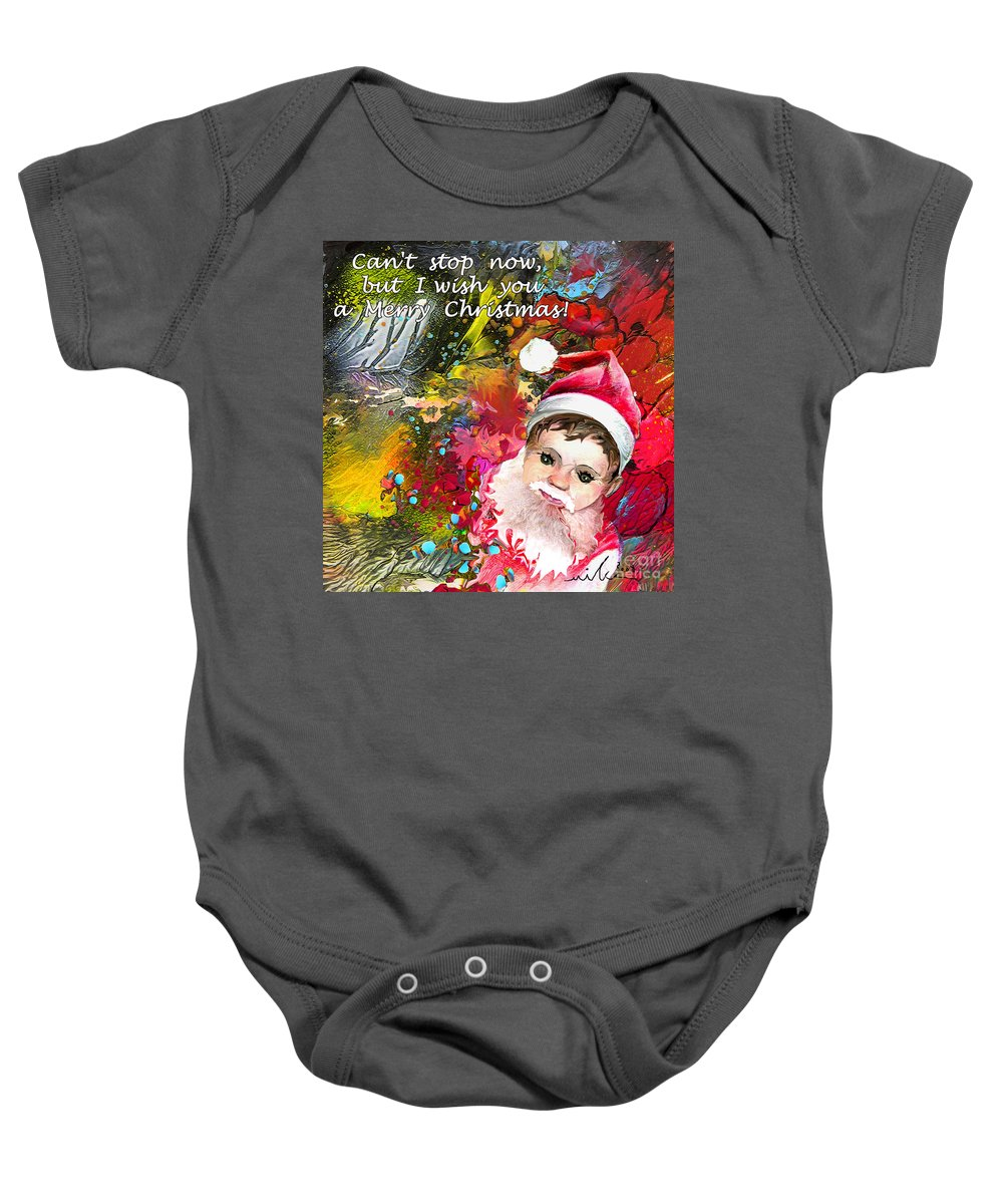 Santa Baby Painting Baby Onesie featuring the painting Cant Stop Now by Miki De Goodaboom