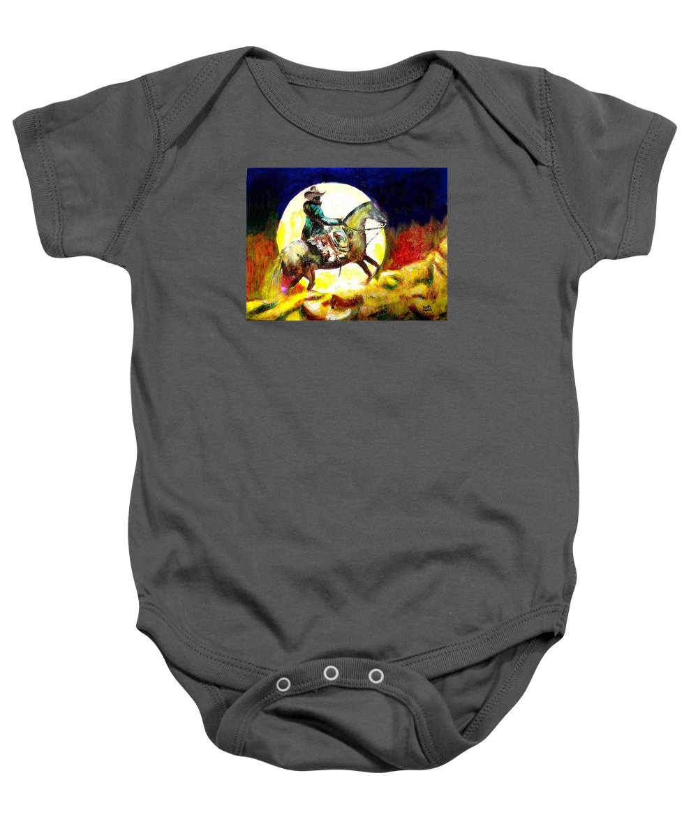 Canyon Moon Baby Onesie featuring the painting Canyon Moon by Seth Weaver