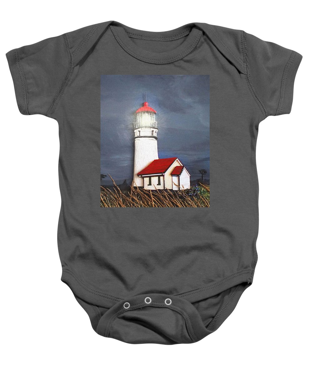 Artwork Baby Onesie featuring the relief Cape Blanco Glow by Wendy McKennon