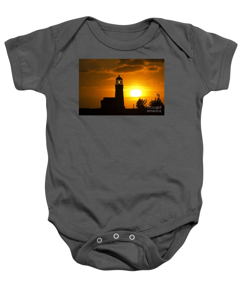 Sun Baby Onesie featuring the photograph Cape Blanco Lighthouse Sunset 2 by Bob Christopher