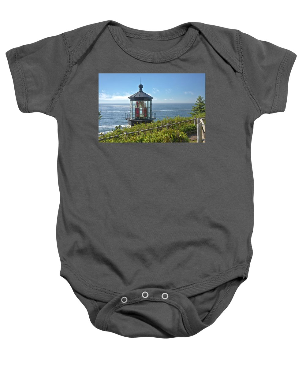 Cape Meares Lighthouse Baby Onesie featuring the photograph Cape Meares Lighthouse Oregon Coast. by Gino Rigucci