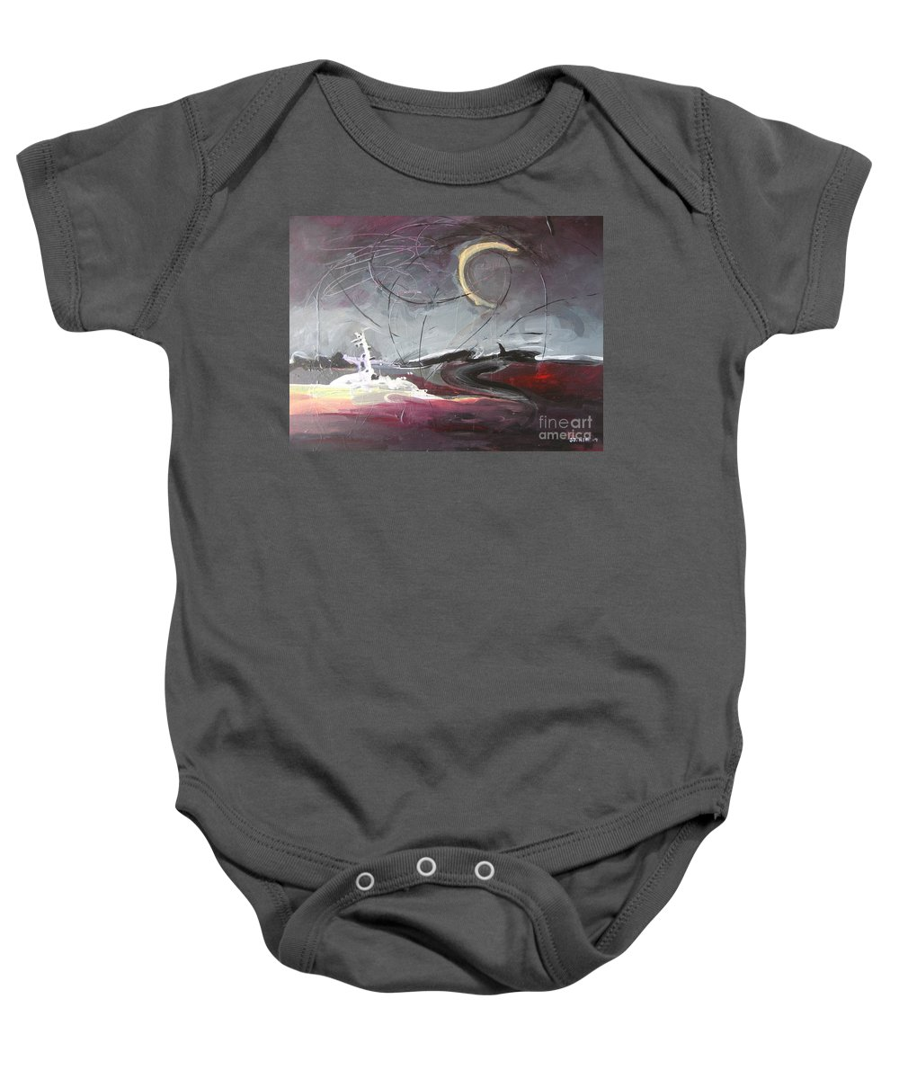 Abstract Paintings Baby Onesie featuring the painting Cape St. Mary by Seon-Jeong Kim