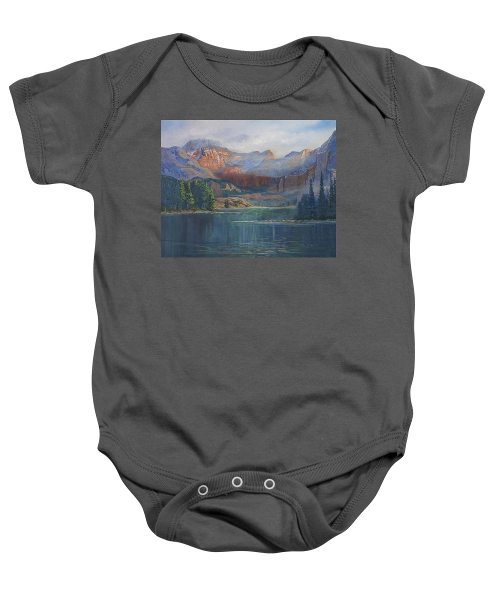 Capital Peak Baby Onesie featuring the painting Capitol Peak Rocky Mountains by Heather Coen