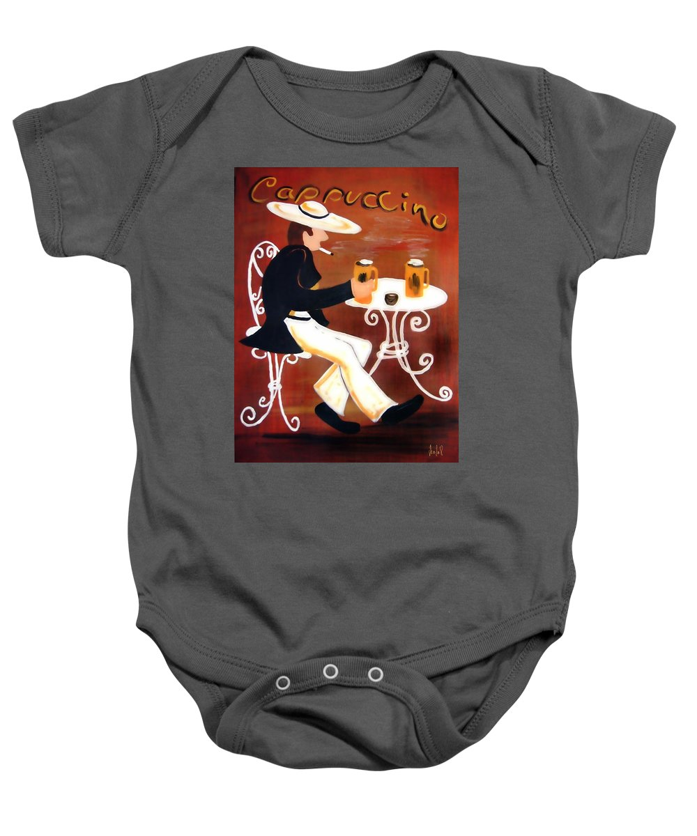 Cappuccino Baby Onesie featuring the painting Cappuccino by Helmut Rottler