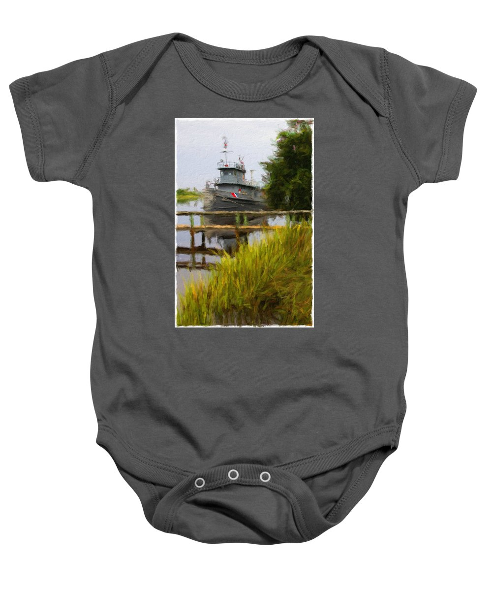 Boat Baby Onesie featuring the photograph Captains Boat by Alice Gipson