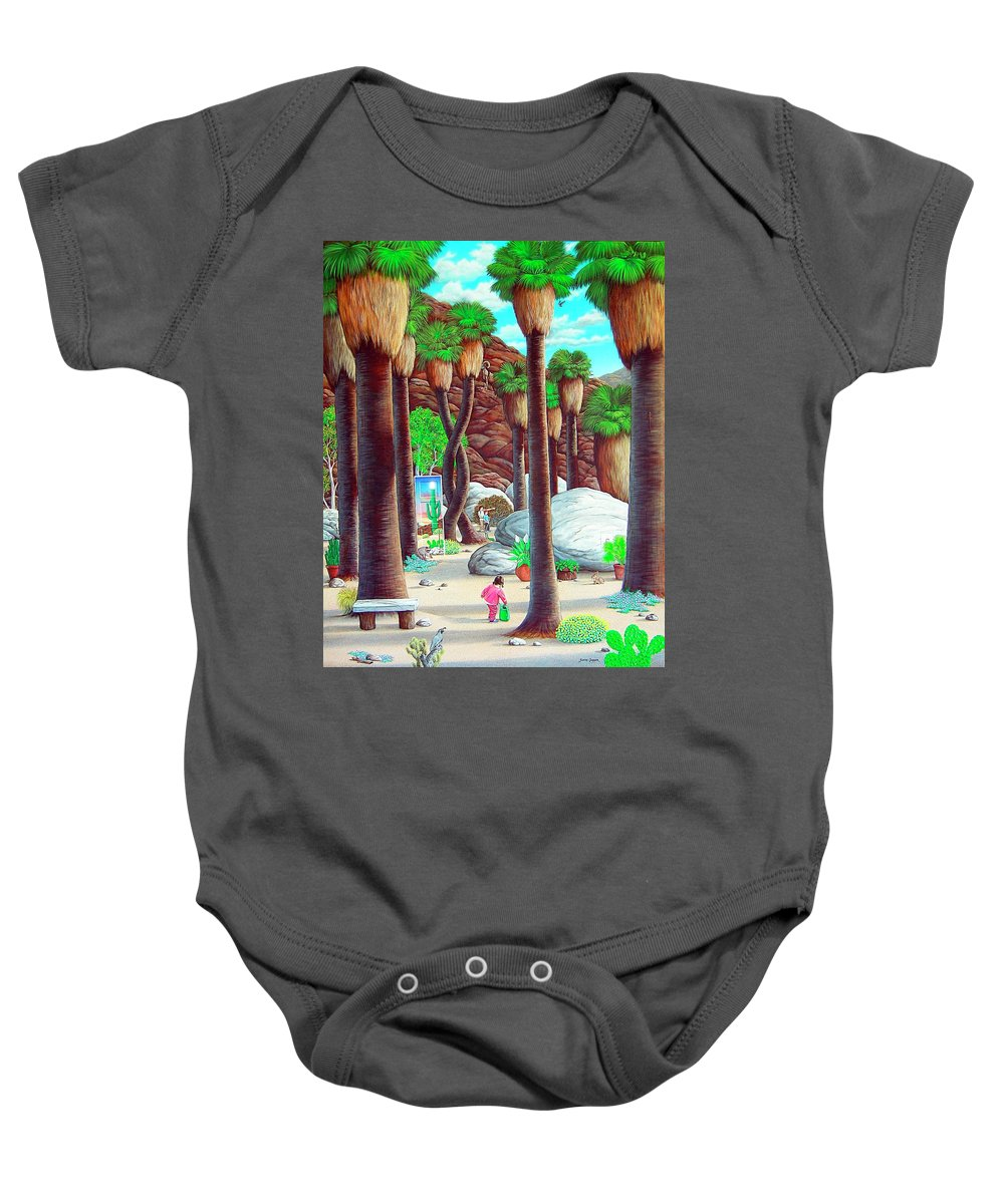 Canyon Baby Onesie featuring the painting Caretaker by Snake Jagger