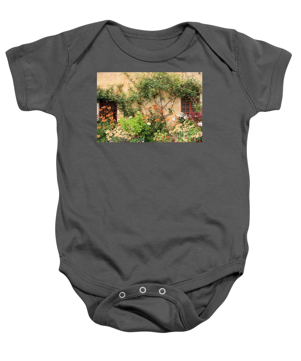 Carmel Mission Baby Onesie featuring the photograph Carmel Mission Windows by Carol Groenen