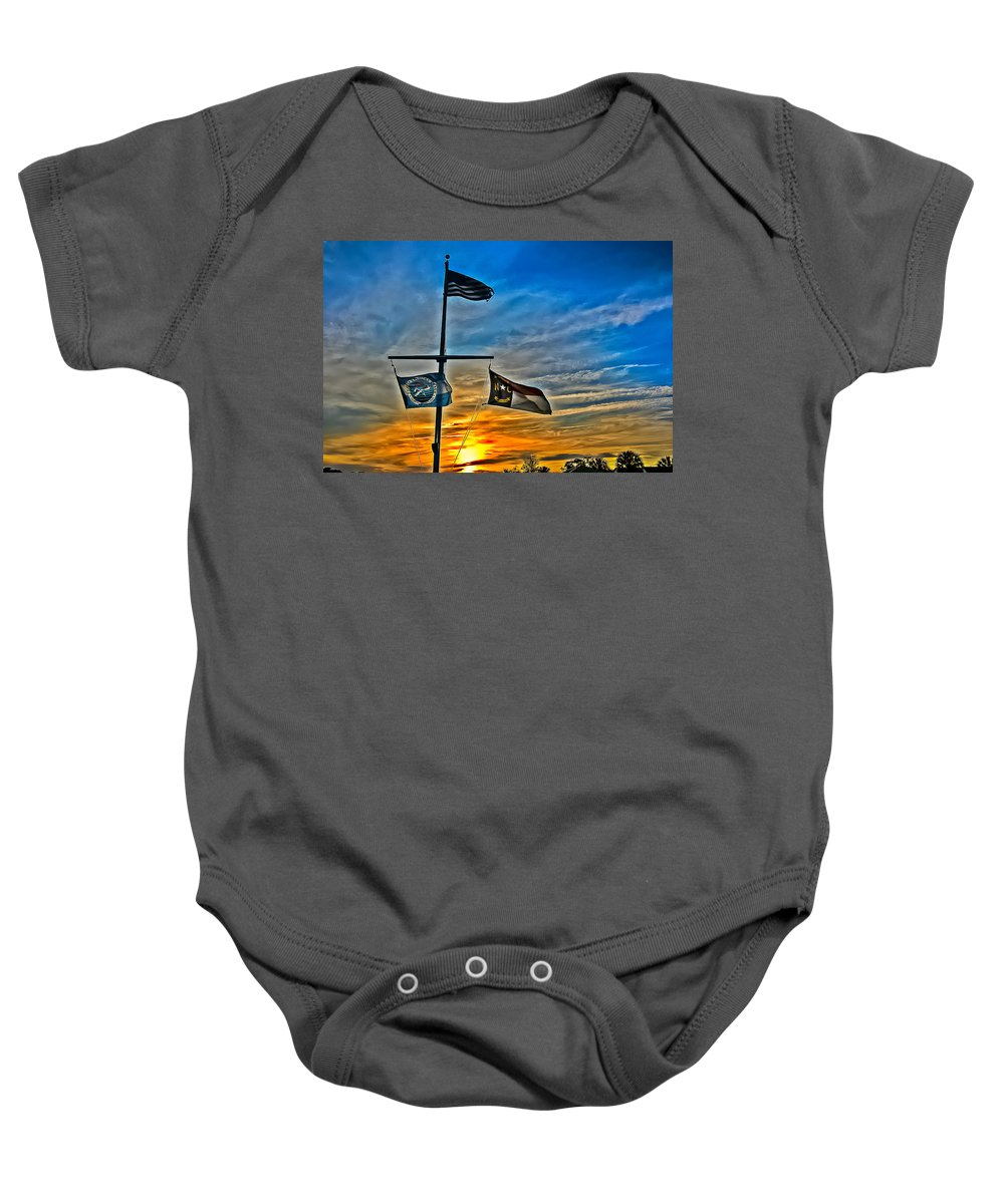 Flag Baby Onesie featuring the photograph Carolina Beach Lake Flag Pole V2 by David Anderson