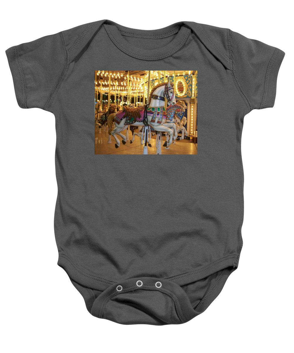 Carosel Horse Baby Onesie featuring the photograph Carosel Horse by Anita Burgermeister
