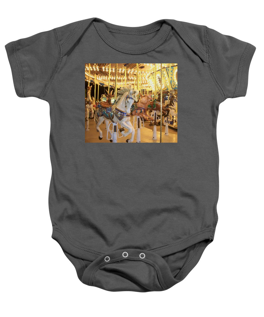 Carosel Horse Baby Onesie featuring the photograph Carousel Horse 2 by Anita Burgermeister