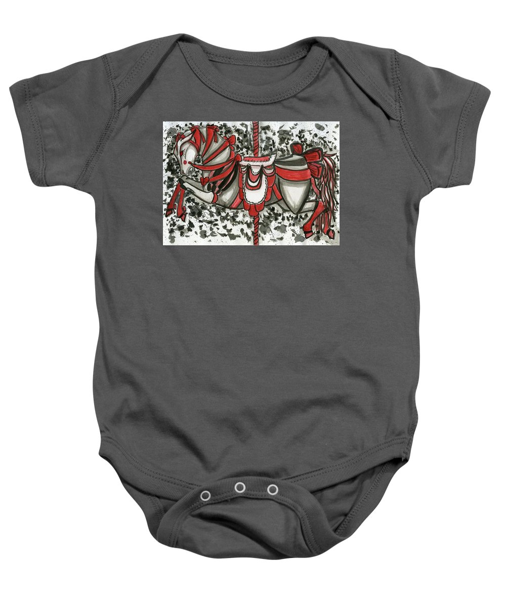 Merry Go Round Baby Onesie featuring the drawing Carousel by Kita Liosatos