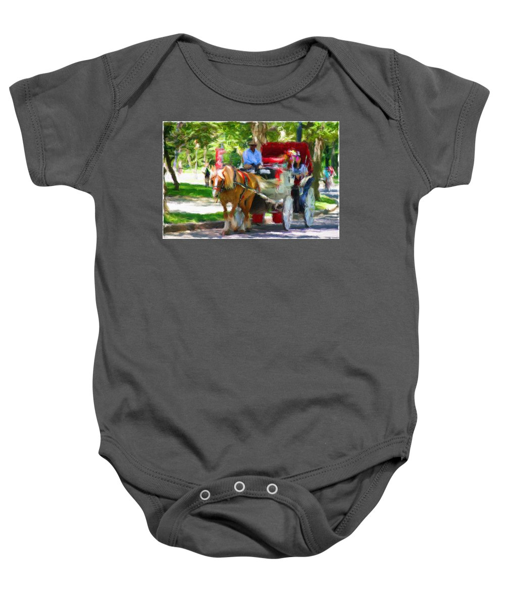 Carriage Horse Baby Onesie featuring the photograph Carriage Colors by Alice Gipson