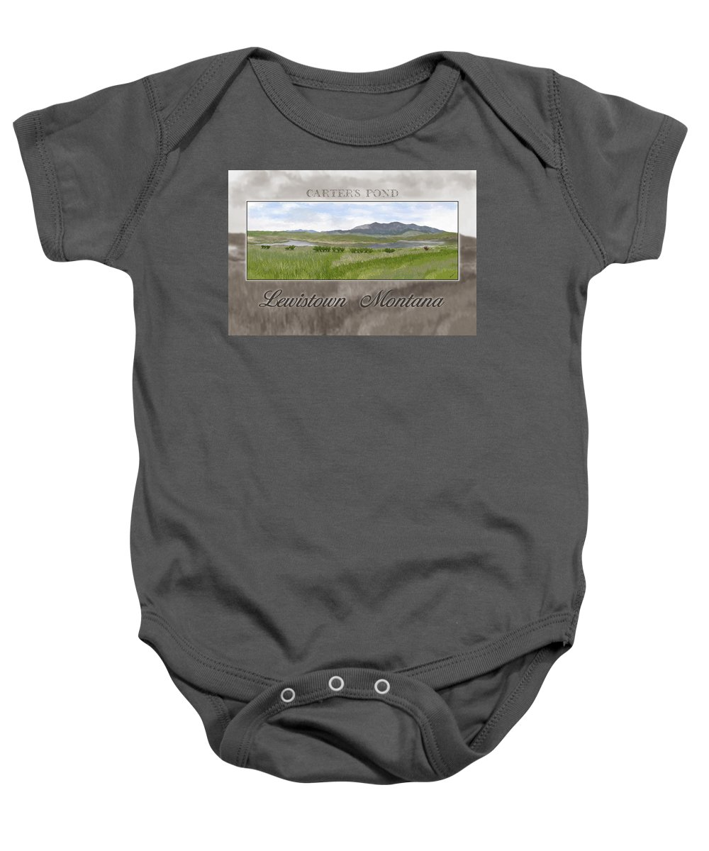 Pond Baby Onesie featuring the digital art Carter's Pond by Susan Kinney