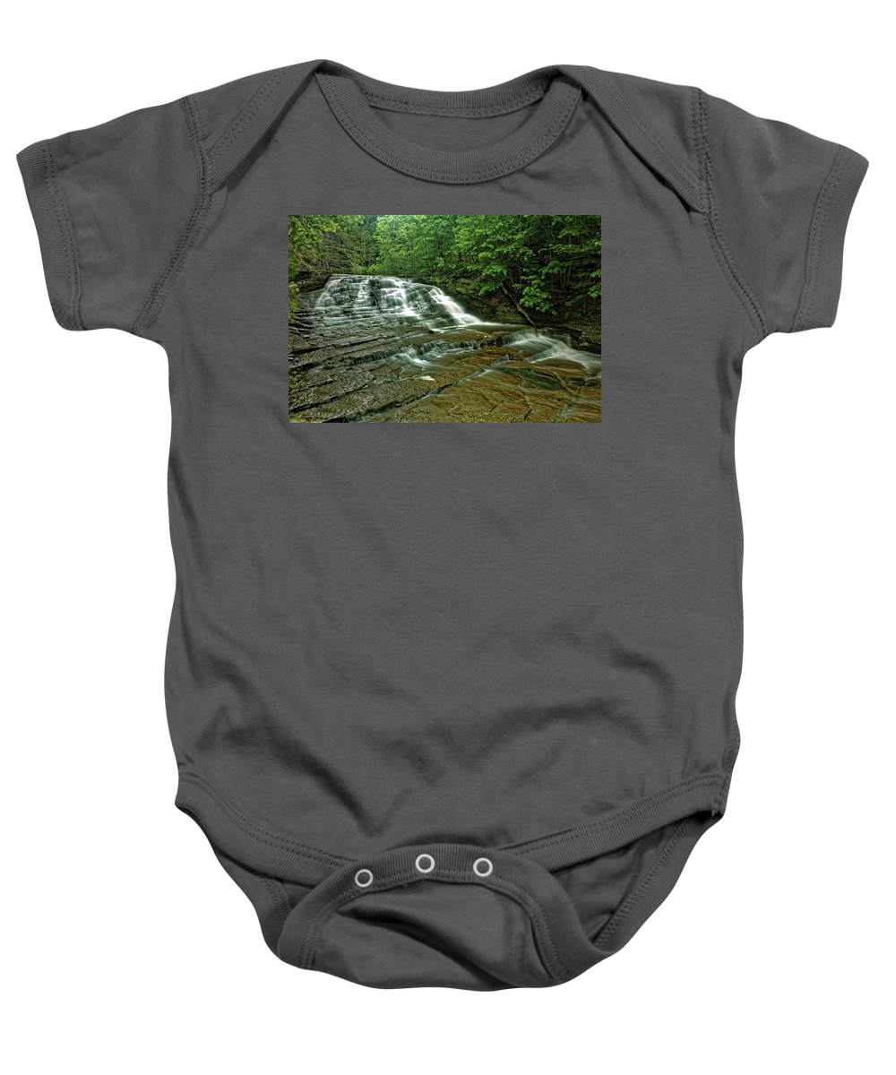 Cascadilla Gorge Baby Onesie featuring the photograph Cascadilla Gorge Falls by Doolittle Photography and Art