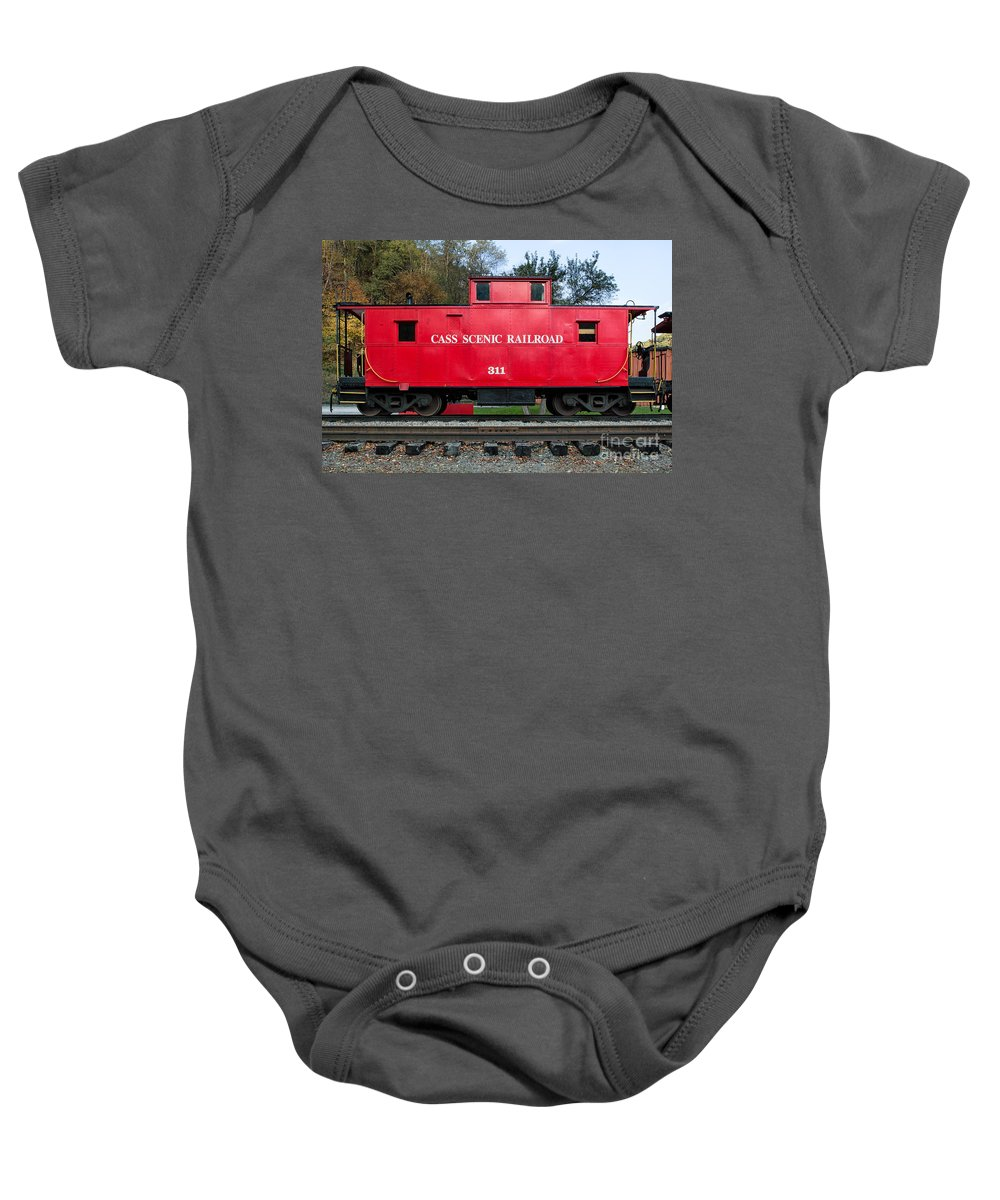 Antiquated Baby Onesie featuring the photograph Cass Red Caboose by Jerry Fornarotto