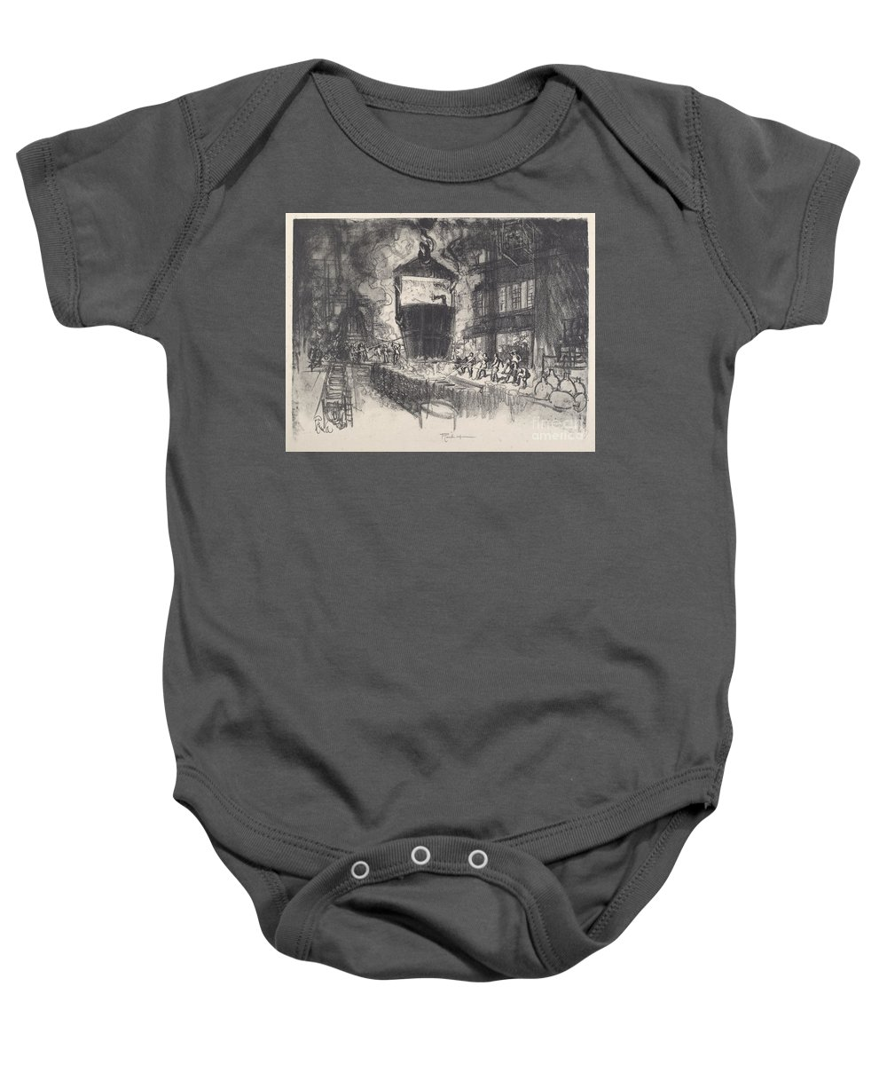 Baby Onesie featuring the drawing Casting Shells by Joseph Pennell